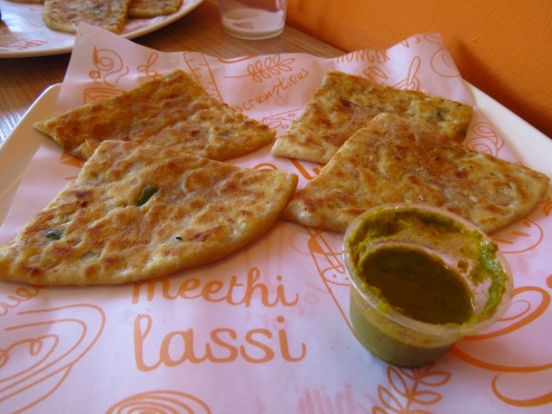 Chilly Garlic Cheese Paratha
