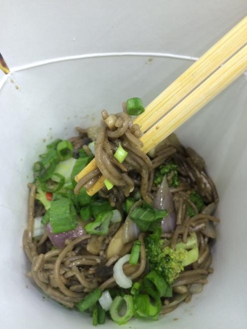 soba noodles in black pepper sauce.